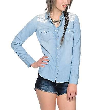 Trillium Malia Lace Denim Shirt