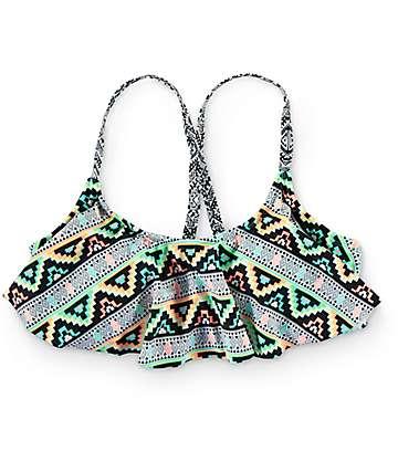 Trillium Mayan Stripe Cage Black Flounce Bikini Top