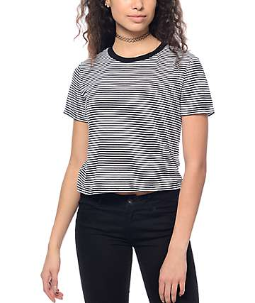 Trillium Milo Black & White Stripe Crop Ringer T-Shirt