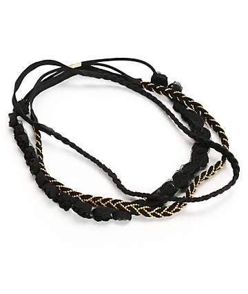 Trillium Multipack Black & Gold Braided Headbands