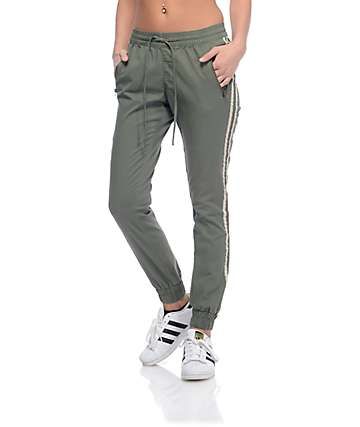 Trillium Olive Twill Athletic Stripe Jogger Pants