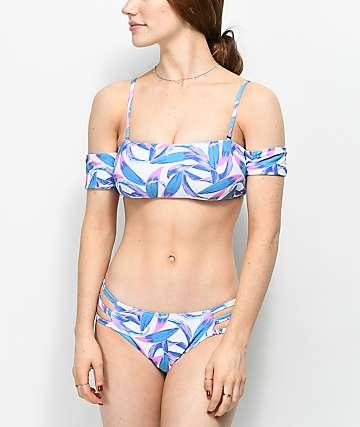 Trillium Sage Palm & White Strappy Cheeky Bikini Bottom