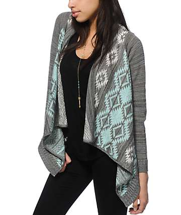 Trillium Salma Mint & Grey Tribal Cardigan