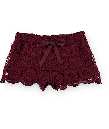 Trillium Sasha Burgundy Crochet Shorts
