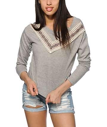Trillium Selena Woven Trim Crew Neck Sweatshirt