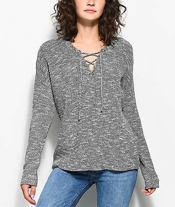 Trillium Shania suéter gris con cordones