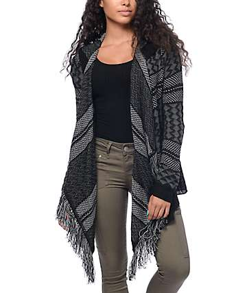 Trillium Skylar Waterfall Black Striped Cardigan