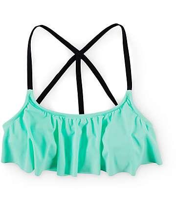 Trillium Sporty Spice Mint Flounce Bikini Top
