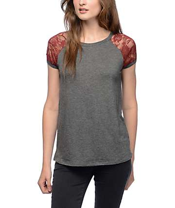 Trillium Steph Lace Charcoal Raglan Top