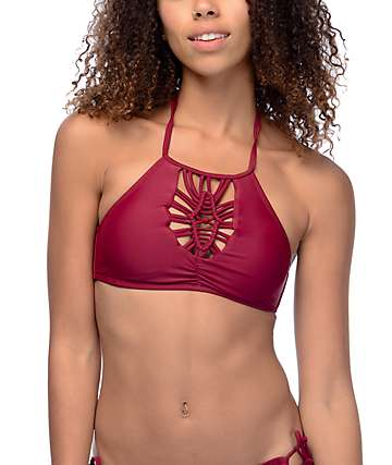 Trillium Sweet Pea High Neck Halter Burgundy Bikini Top