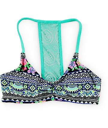 Trillium Tahitian Gardens Mint Bralette Bikini Top
