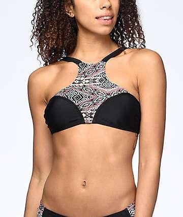 Trillium The Weekday top de bikini cuello alto en negro