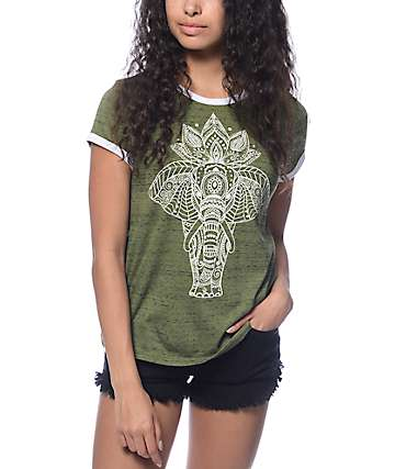Trillium Toby Ethno Elephant Olive Ringer T-Shirt