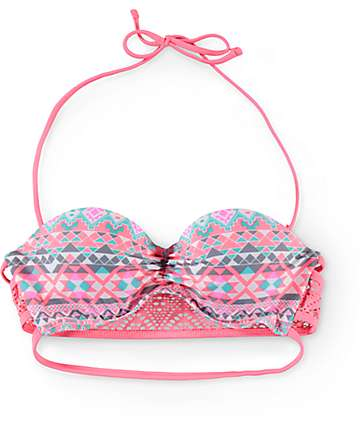 Trillium Triangle Tribal Molded Bandeau Bikini Top