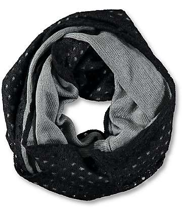 Trillium Two Tone Double Layer Black Infinity Scarf