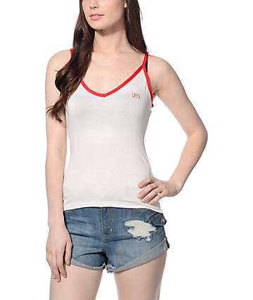 Trillium UFO White & Red Ringer Crop Tank Top