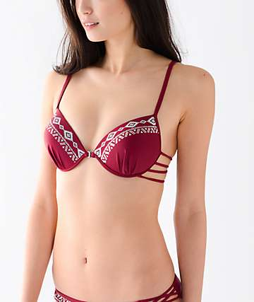 Trillium Wild Child Molded Strappy Burgundy Bikini Top