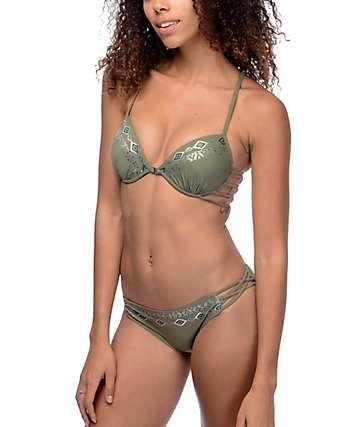 Trillium Wild Child bottom de bikini con correas laterales en color olivo