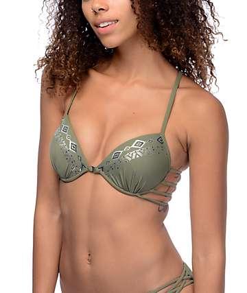 Trillium Wild Child top de bikini con copas moldeadas en color verde olivo