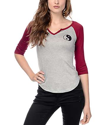 Trillium Yin Yang Notch Grey & Burgundy Baseball T-Shirt