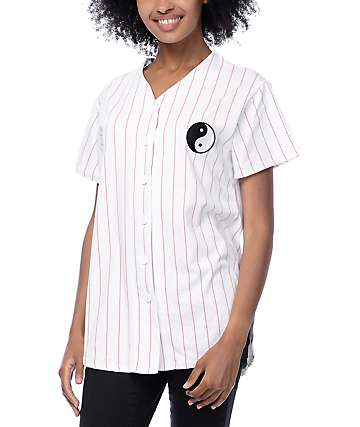 Trillium Yin Yang Pink Stripe Baseball Jersey