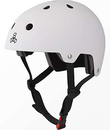 Triple Eight Dual Certified White Rubber Skateboard Helmet