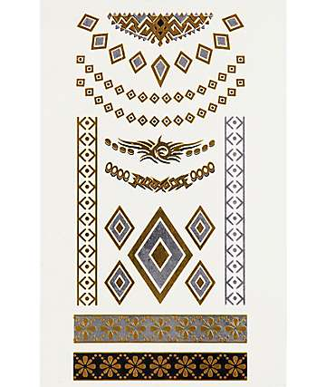 Twin Tigers Temporary Diamond Metallic Tattoos