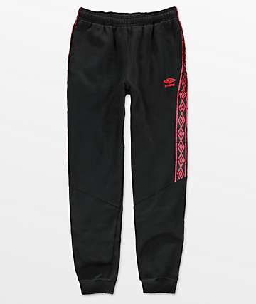 Umbro Heavyweight Black & Red Jogger Pants