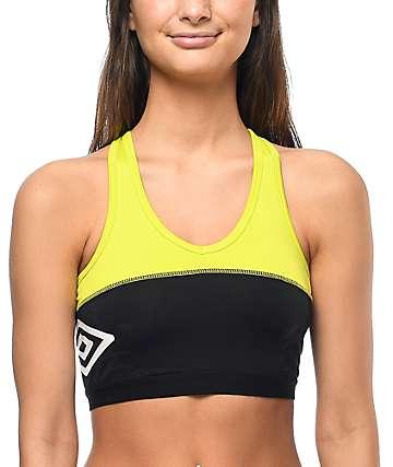 Umbro sujetador deportivo con relleno en negro y color amarillo