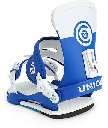 Union Contact White & Blue Snowboard Bindings