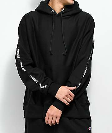 Utmost Co. Solid Logo Tape Black Hoodie