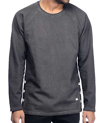 VSOP Charcoal Button Raglan Crew Neck Sweatshirt