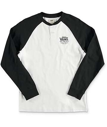 Vans  Boys Denton White & Black Long Sleeve T-Shirt