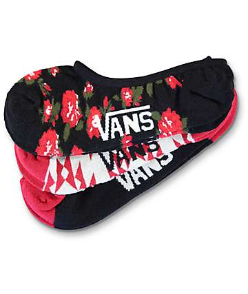 Vans 3 Pack Canoodle Tribal & Floral, Black & Red No Show Socks