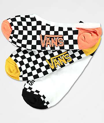 Vans 3 Pack Checker Canoodle No Show Socks
