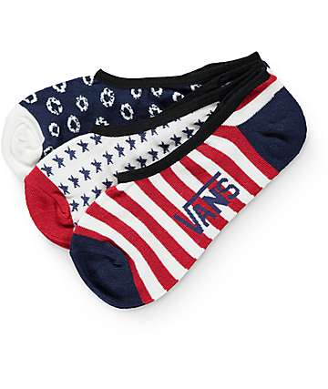 Vans 3 Pack Don't Tell Mom Red, White & Blue No Show Socks