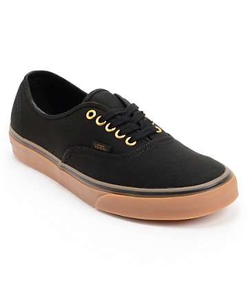 Vans Authentic Black & Gum Skate Shoes (Mens)