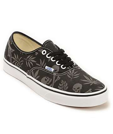 Vans Authentic Black Aloha Skate Shoes (Mens)