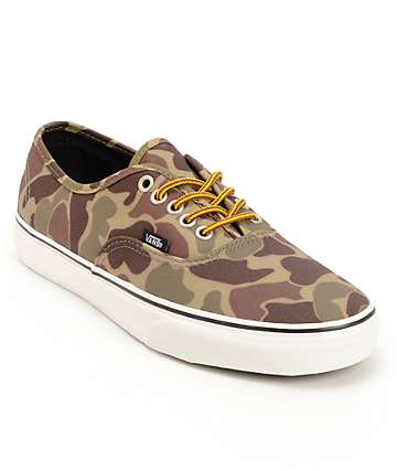 Vans Authentic Camo Waxed Canvas Skate Shoes (Mens)