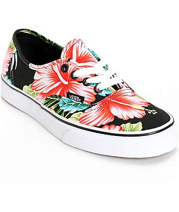Vans Authentic Hawaiian Floral Black Shoes (Womens)