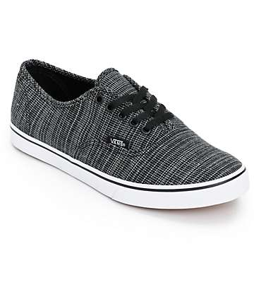 Vans Authentic Lo Pro Black Chambray Shoes (Womens)
