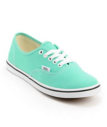 Vans Authentic Lo Pro Mint Leaf & White Canvas Shoes (Womens)