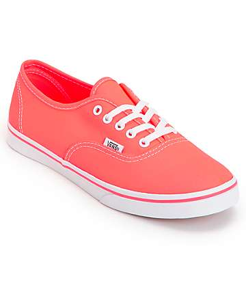 Vans Authentic Lo Pro Neon Coral Shoes (Womens)
