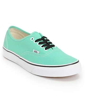 Vans Authentic Mint & True White Skate Shoes (Mens)