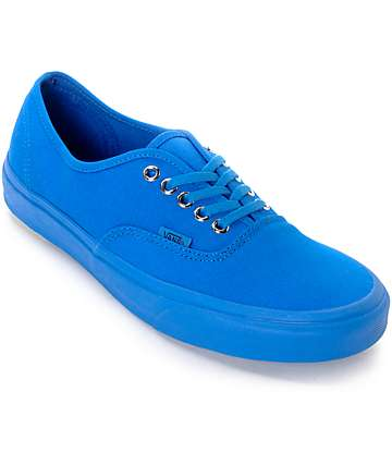Vans Authentic Mono Imperial Blue Canvas Skate Shoes
