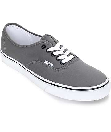 Vans Authentic Pewter and Black Skate Shoes (Mens)