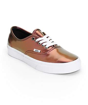 Vans Authentic Pink Patent Leather Shoes (Womens)