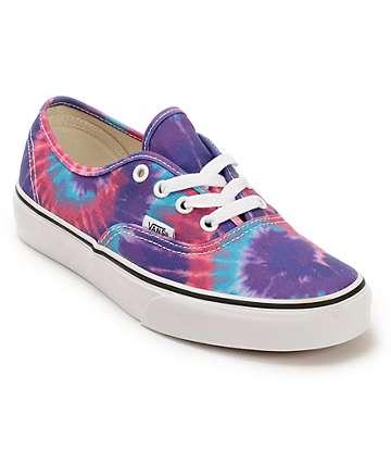Vans Authentic Purple Tie Dye Shoes (Womens)