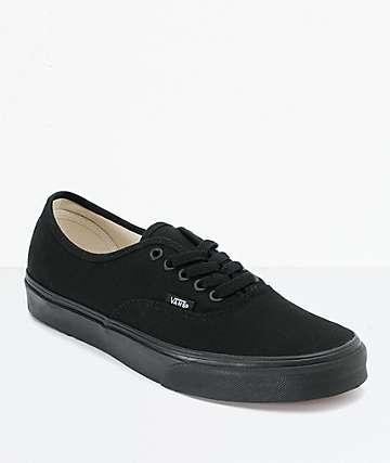 Vans Authentic zapatos de skate todas negras con cordones (hombre)