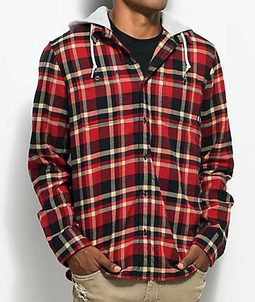 Vans Banfield Red, Black & Khaki Hooded Flannel